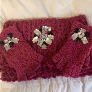 Betsey Johnson Scarf and Fingerless Glove Set
